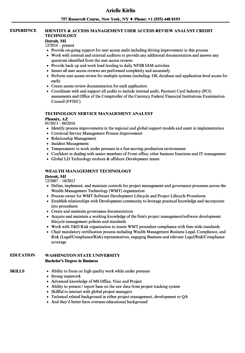Technology Management Resume Samples | Velvet Jobs