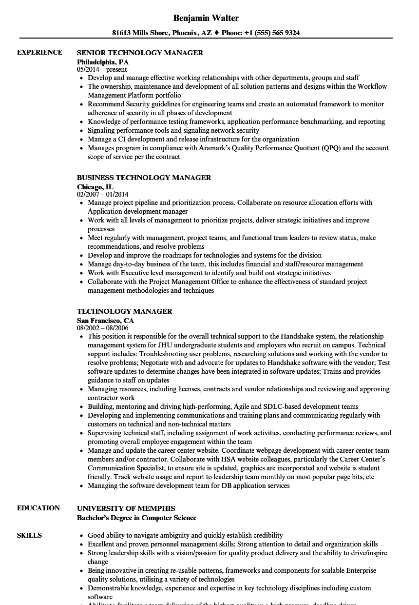 Technology Manager Resume Samples Velvet Jobs