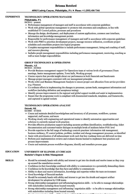Technology operations resume samples velvet jobs xflitez Gallery