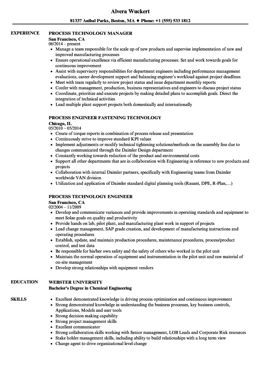 Technology Process Resume Samples | Velvet Jobs