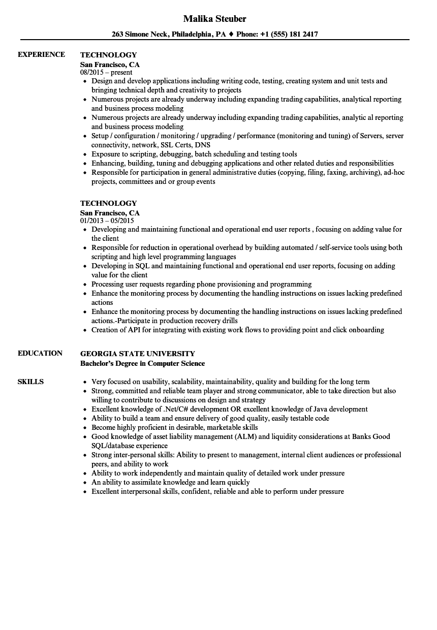 Download Technology Resume Sample As Image File