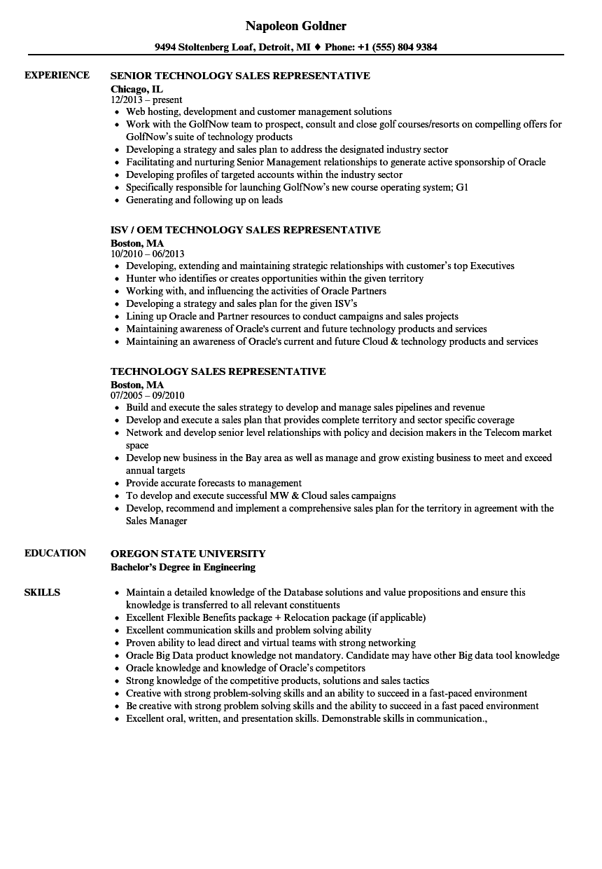 Technology Sales Representative Resume Samples | Velvet Jobs