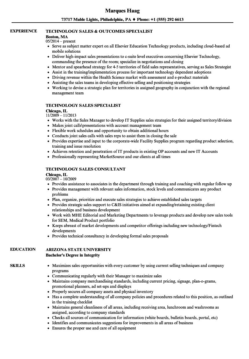 Technology Sales Resume Samples | Velvet Jobs