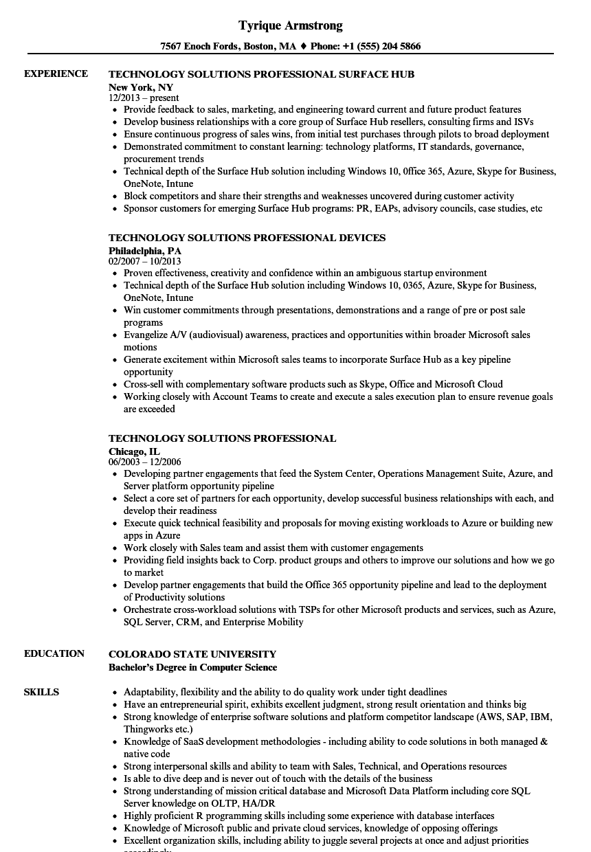 technology solutions professional resume samples
