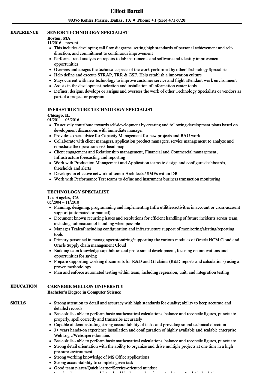 technology specialist resume samples