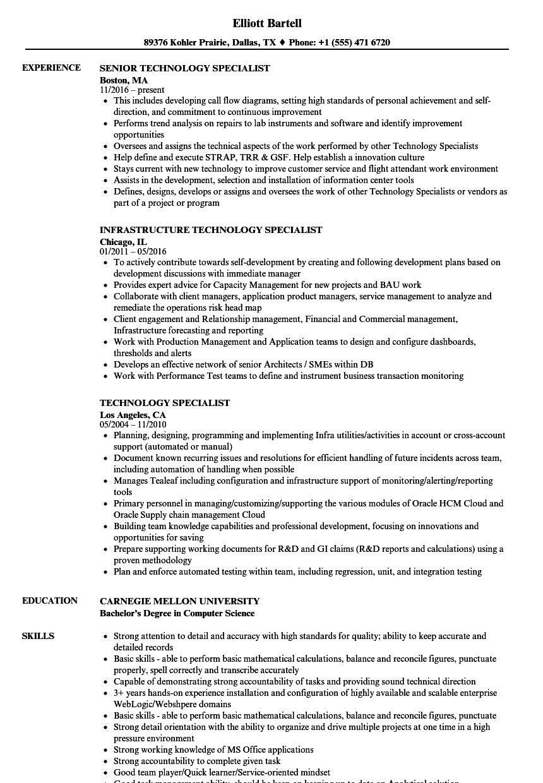 Technology Specialist Resume Samples | Velvet Jobs