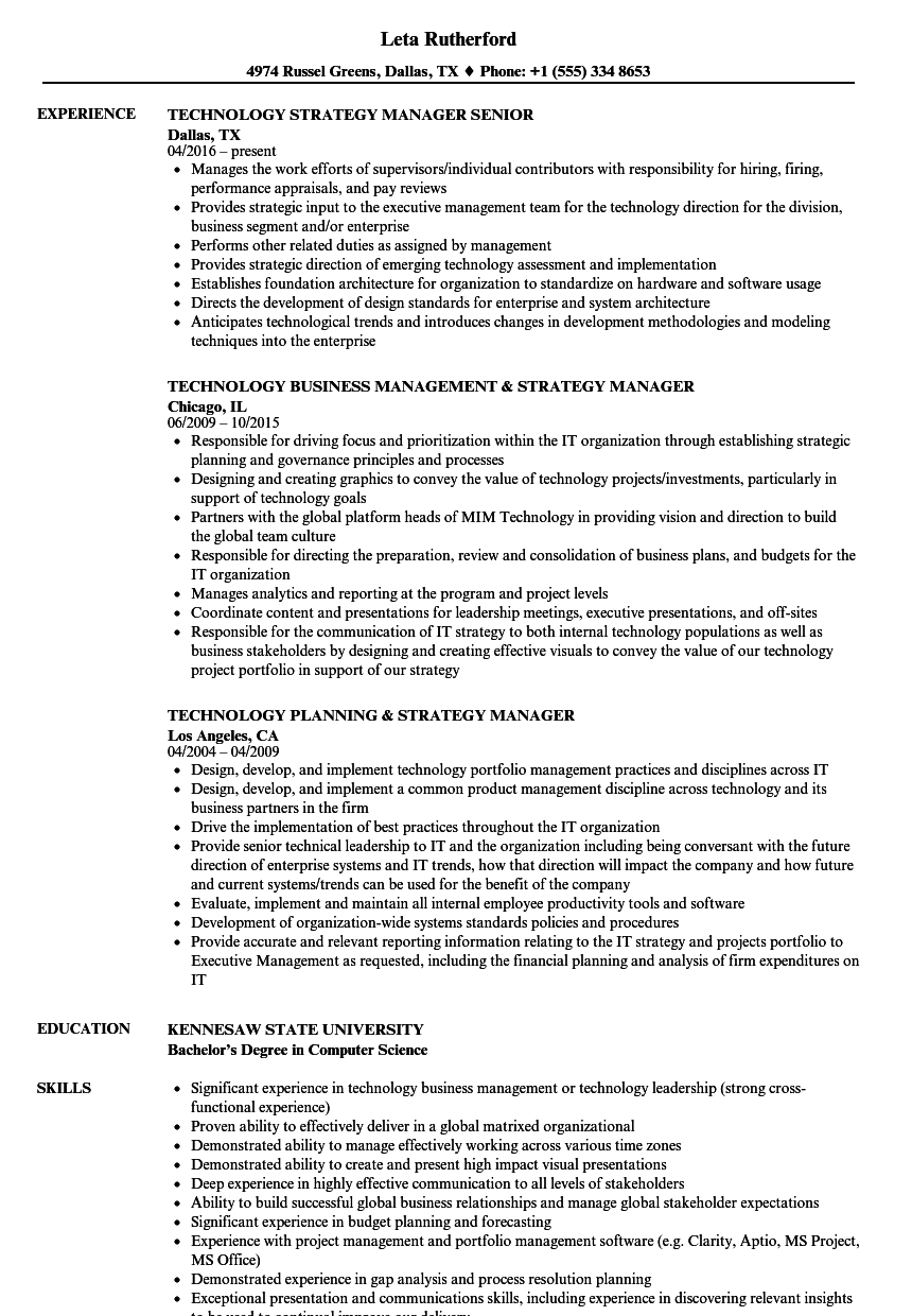 Technology Strategy Manager Resume Samples | Velvet Jobs