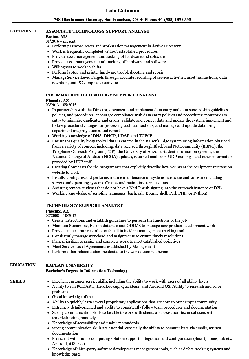 technology support analyst resume samples