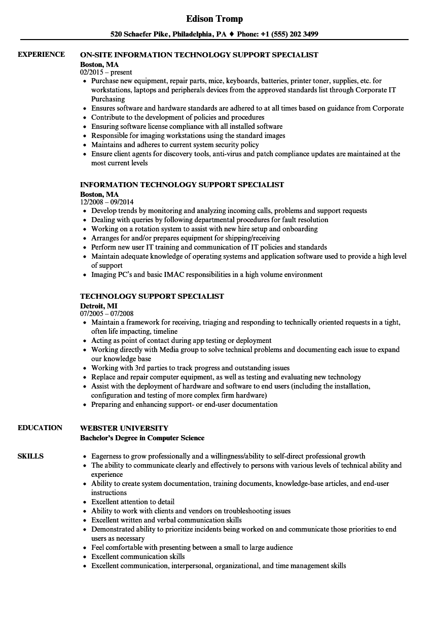 technology support specialist resume samples