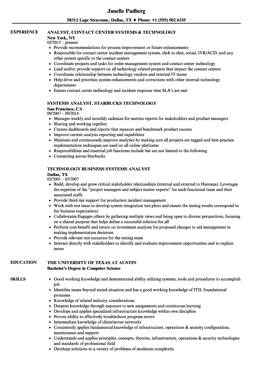 download technology systems analyst resume sample as image file