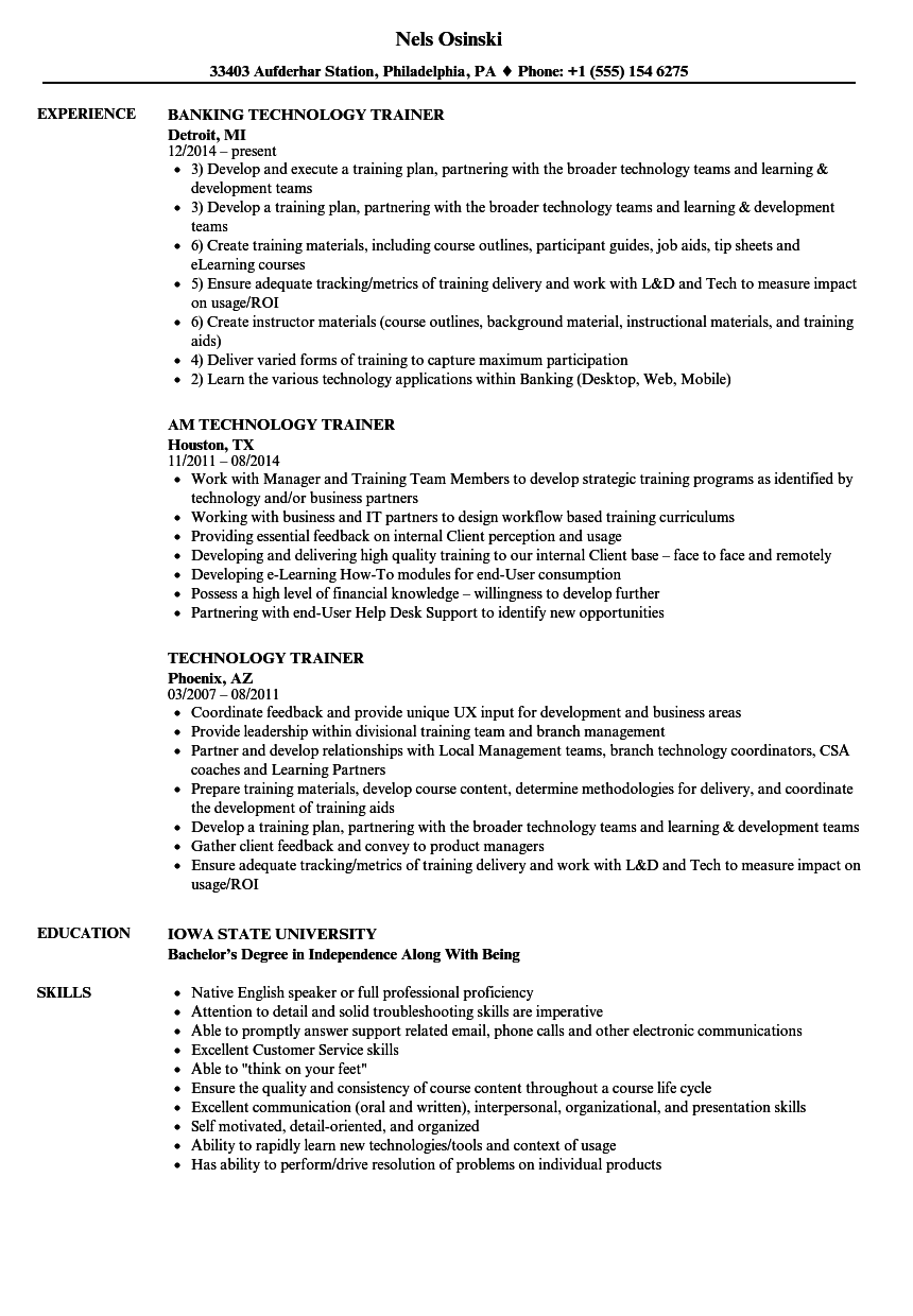 Technology Trainer Resume Samples Velvet Jobs
