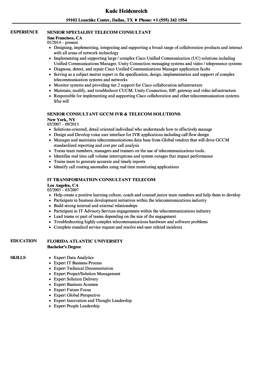 Telecom Consultant Resume Samples | Velvet Jobs