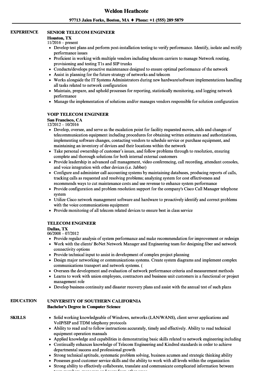 telecommunication engineer resume