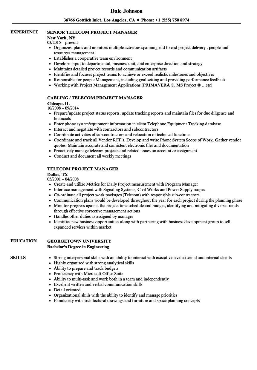 download telecom project manager resume sample as image file - Resume Sample For Project Manager
