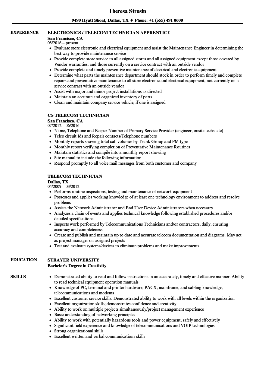 Telecom Technician Resume Samples | Velvet Jobs