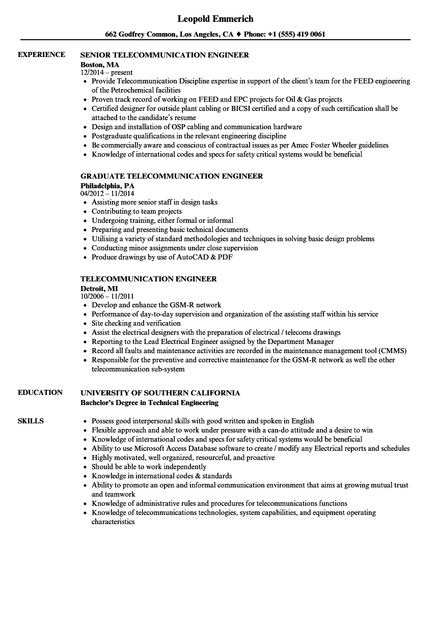 Telecommunication Engineer Resume Samples | Velvet Jobs