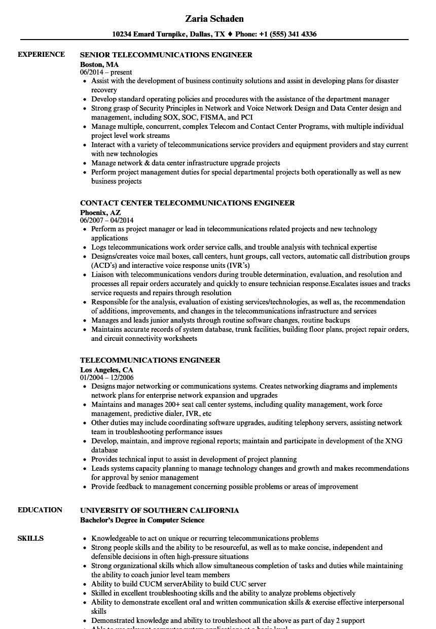 Telecommunications Engineer Resume Samples | Velvet Jobs