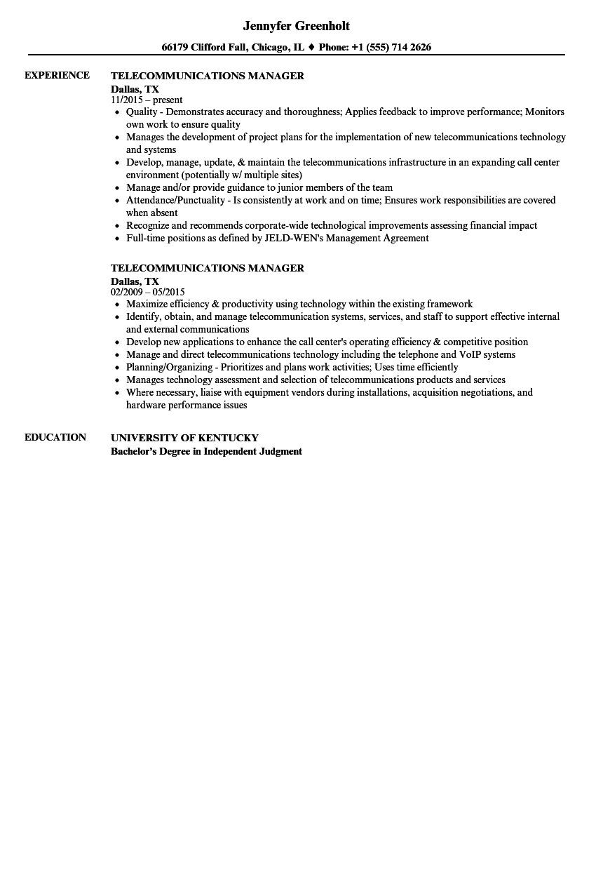 telecommunications manager resume samples velvet jobs