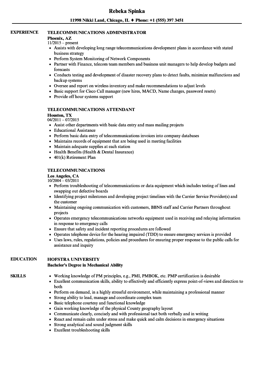 Telecommunications Resume Samples | Velvet Jobs