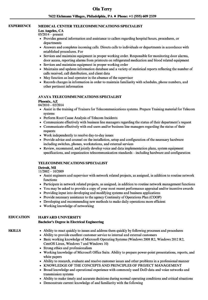 telecommunications specialist resume samples
