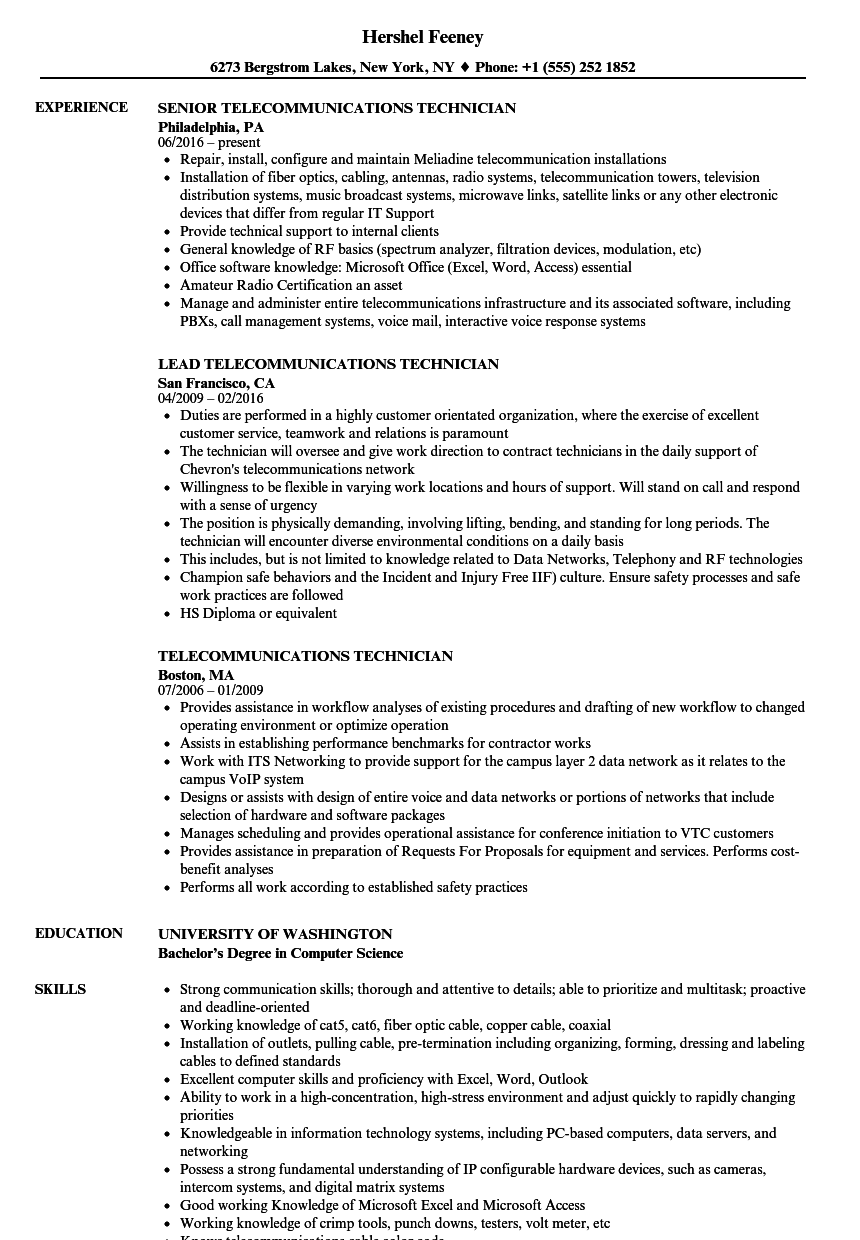 Telecommunications Technician Resume Samples | Velvet Jobs