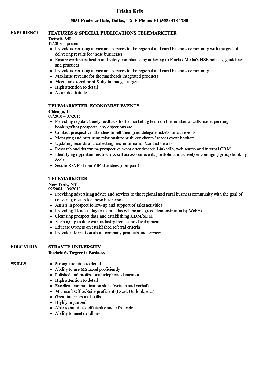Download Telemarketer Resume Sample As Image File