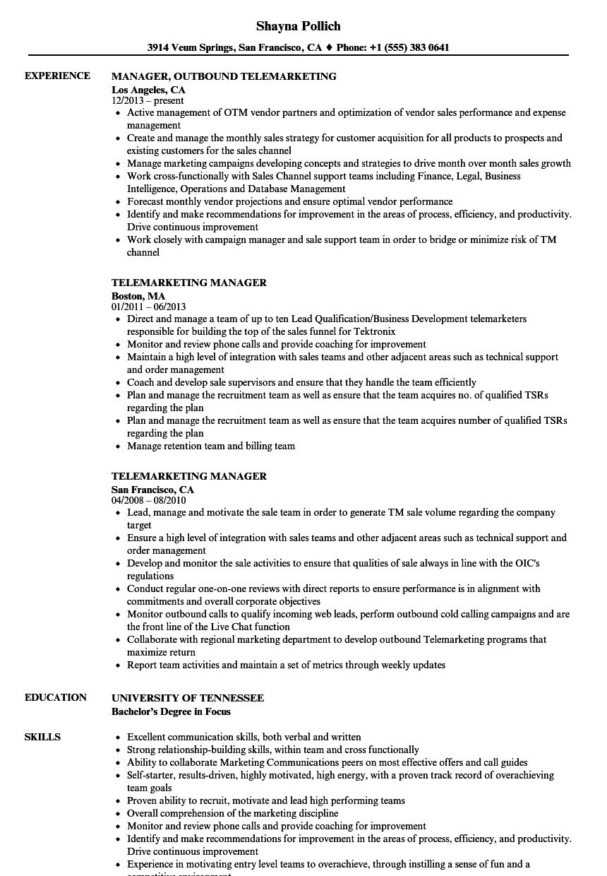 Telemarketing Manager Resume Samples | Velvet Jobs