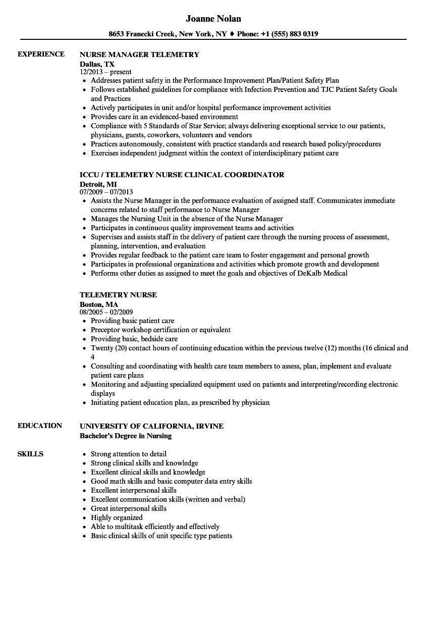 Telemetry Nurse Resume Samples | Velvet Jobs