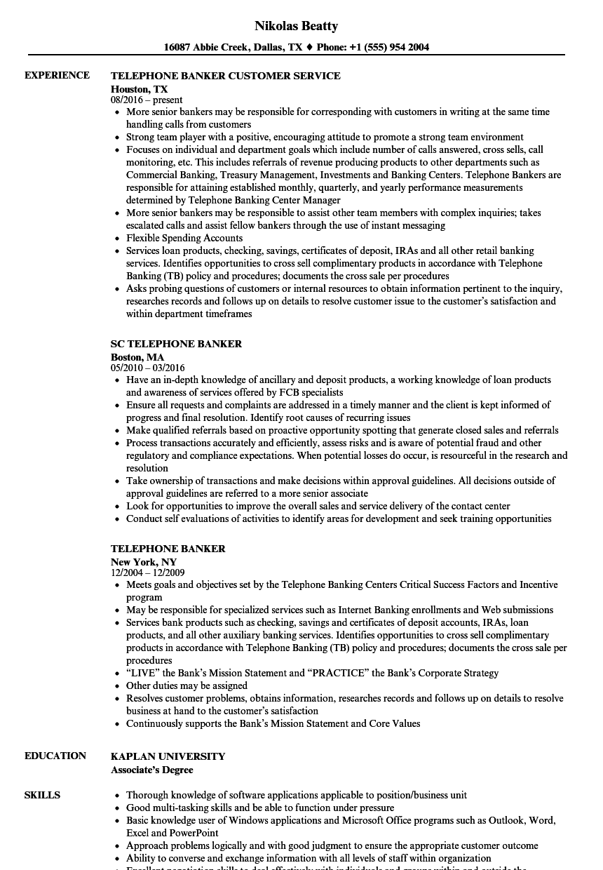 Telephone Banker Resume Samples Velvet Jobs