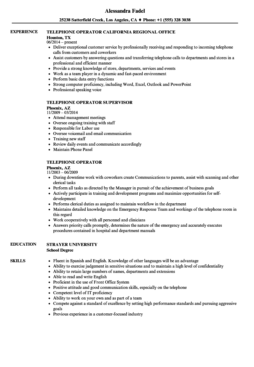 telephone operator resume samples velvet jobs