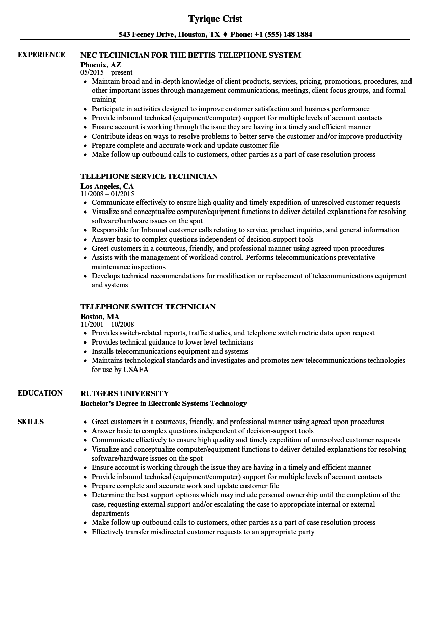 telephone technician resume samples velvet jobs