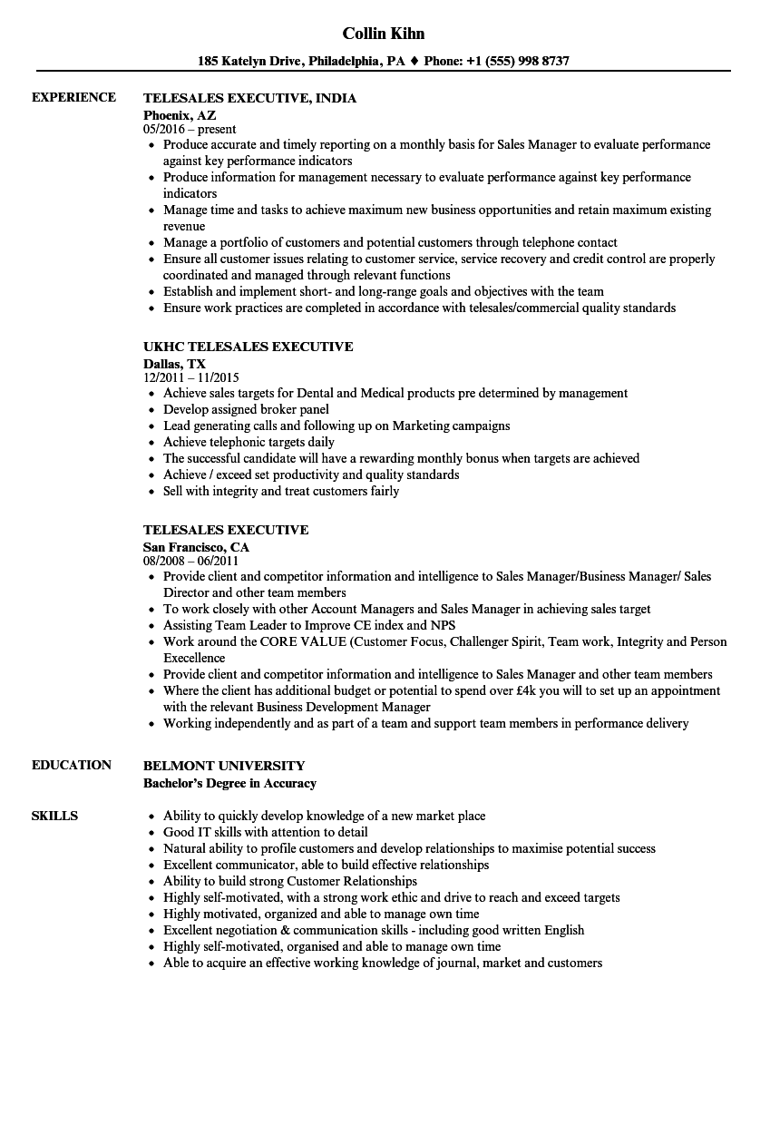 Telesales Executive Resume Samples | Velvet Jobs