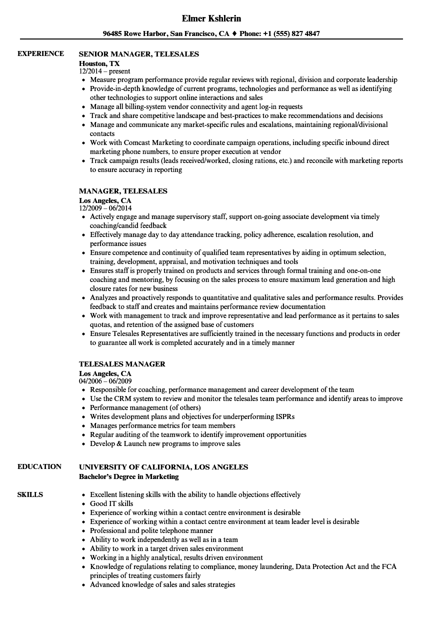 download telesales manager resume sample as image file