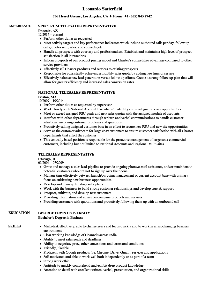 Download Telesales Representative Resume Sample As Image File