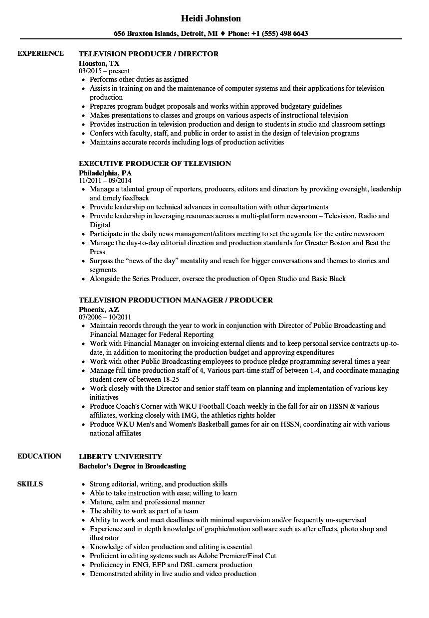 Television Producer Resume Samples | Velvet Jobs