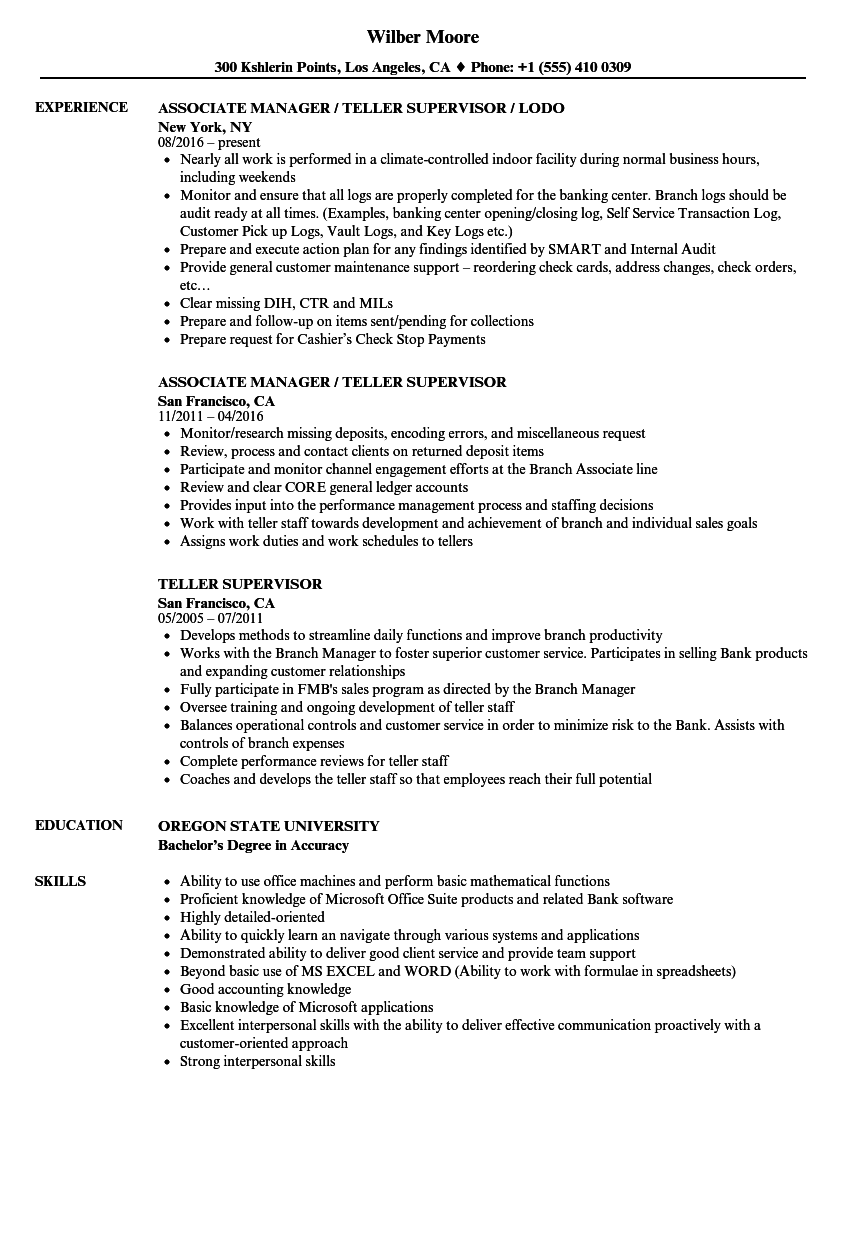 Download Teller Supervisor Resume Sample As Image File  Resume For Teller