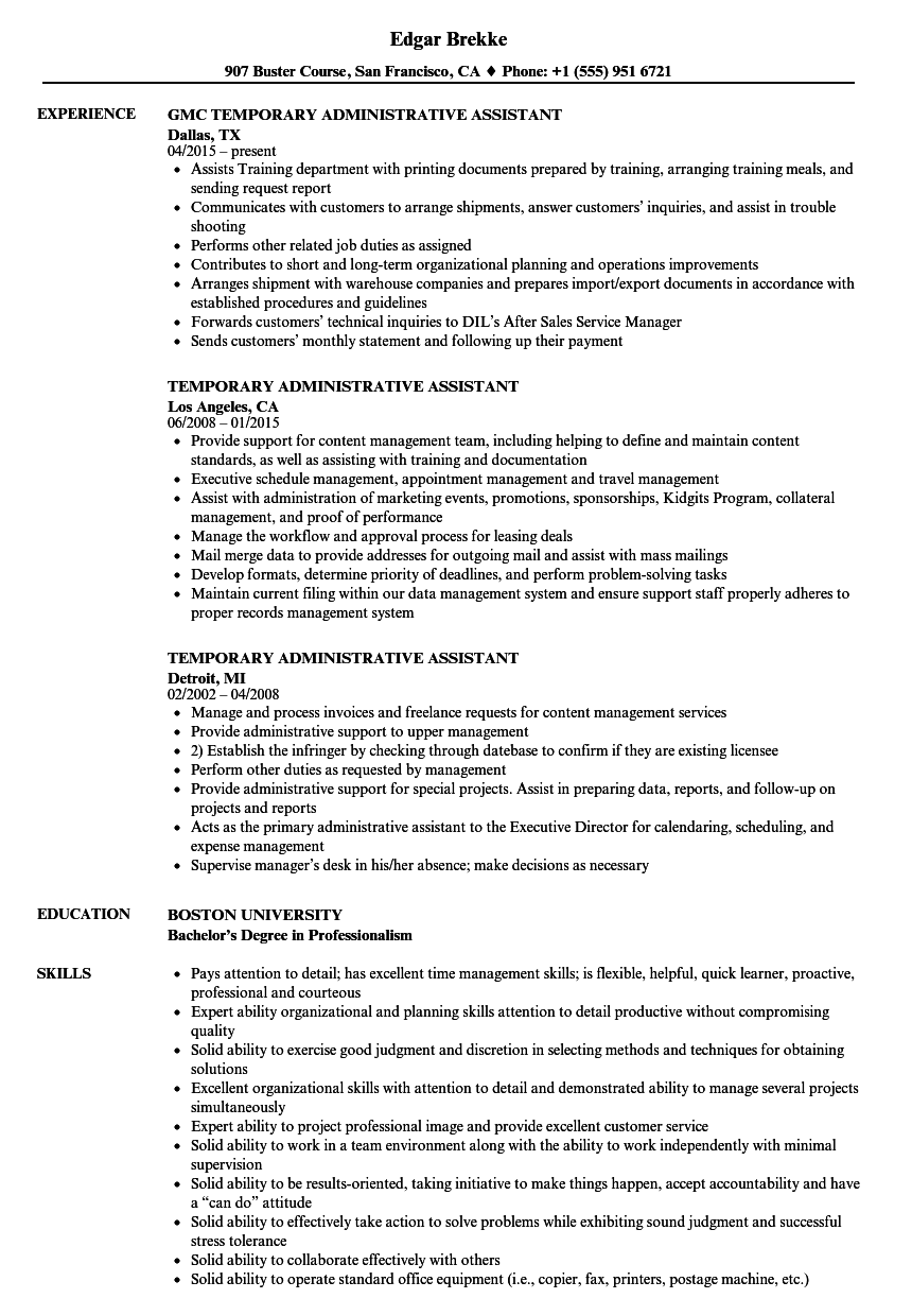 temporary administrative assistant resume samples