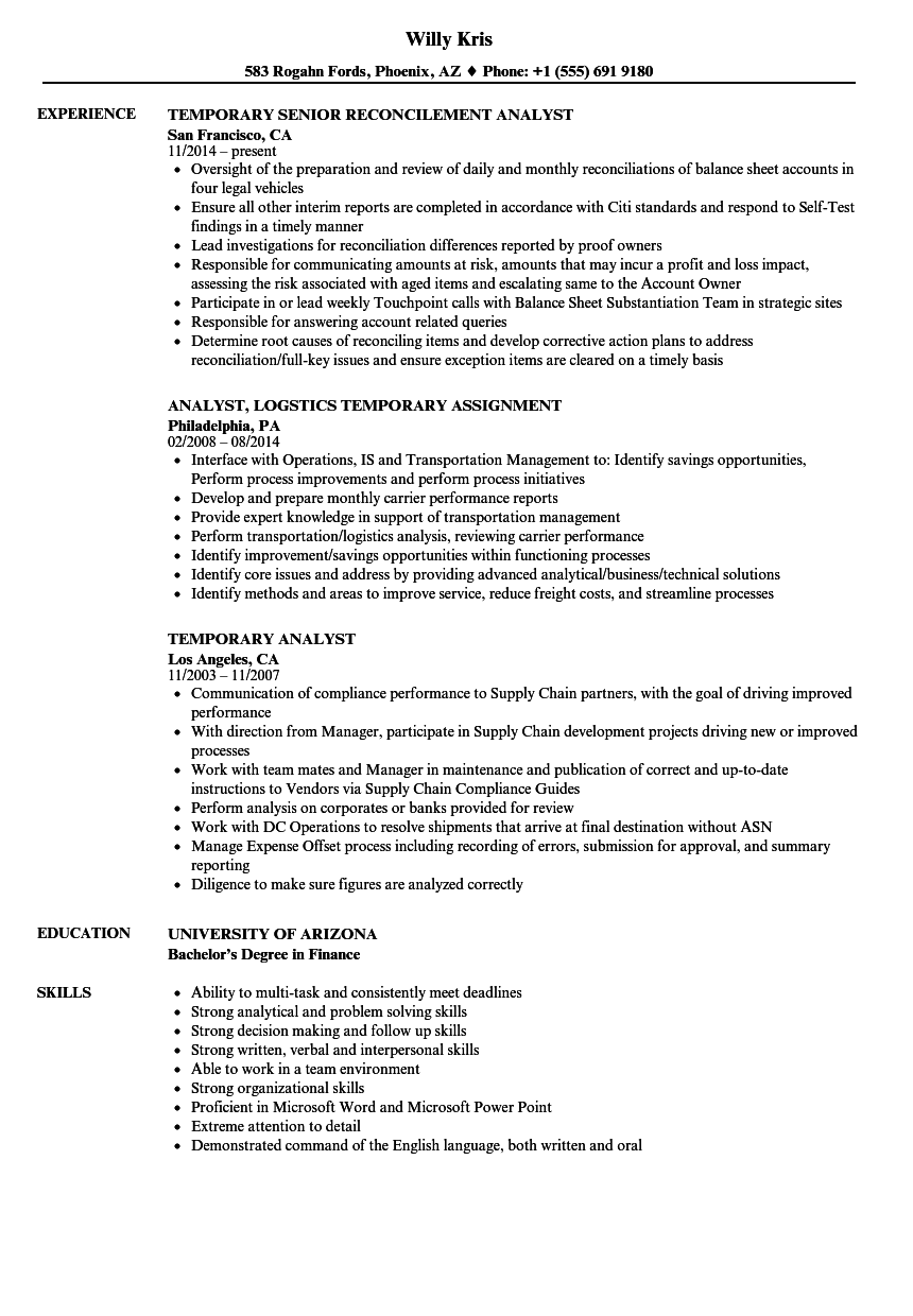 temporary analyst resume samples