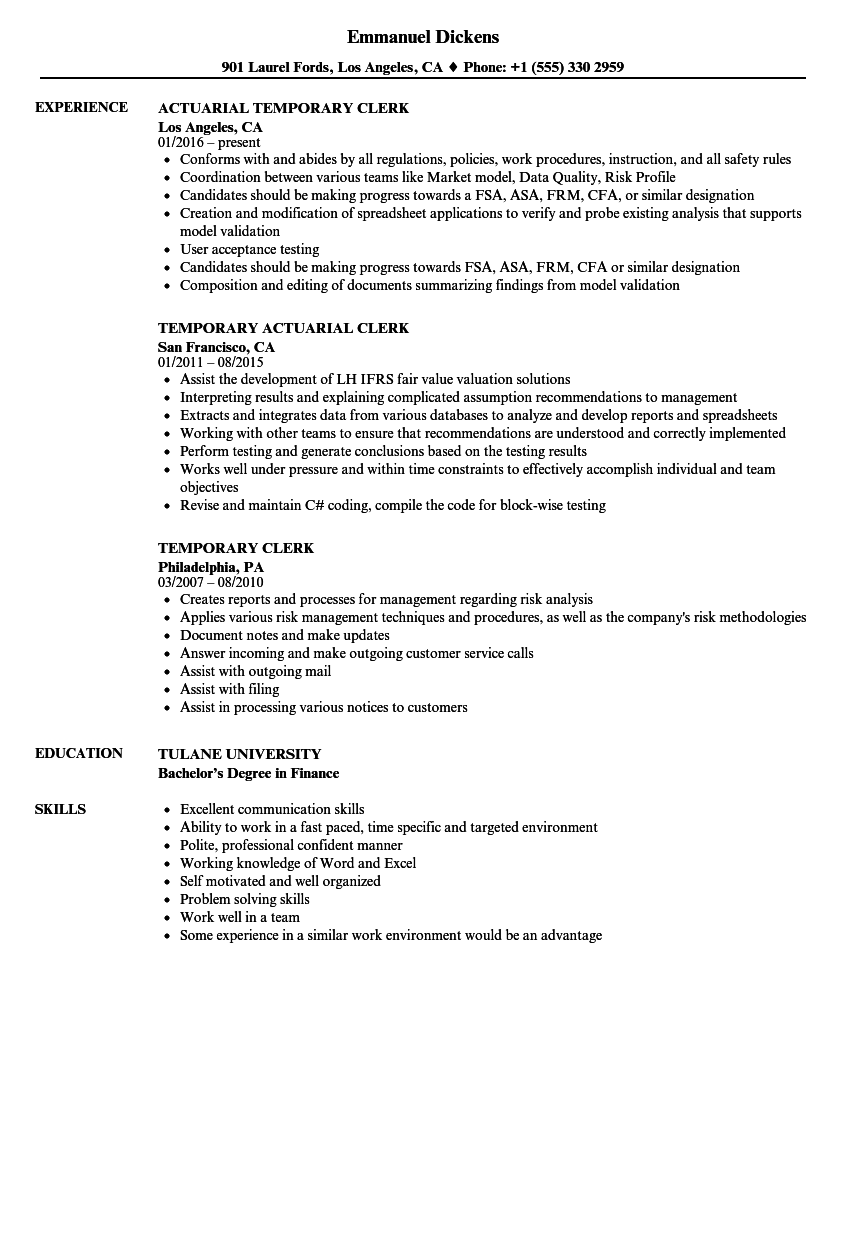 temporary clerk resume samples