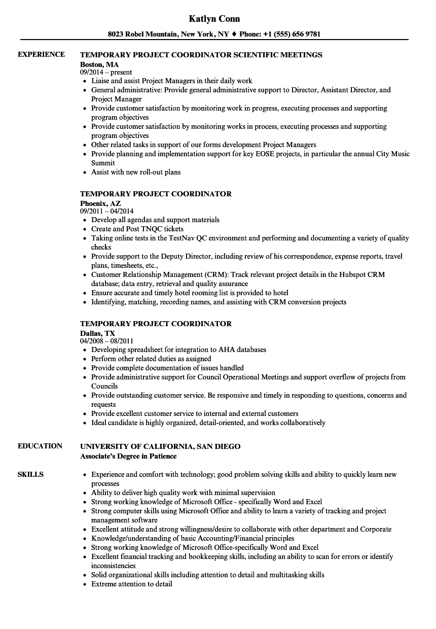download temporary project coordinator resume sample as image file - Project Coordinator Resume