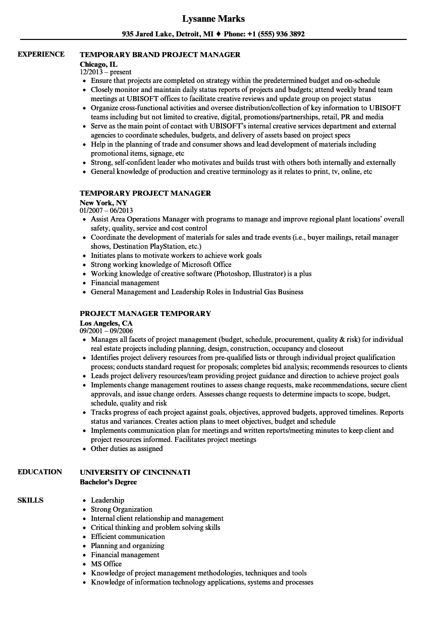 temporary project manager resume samples