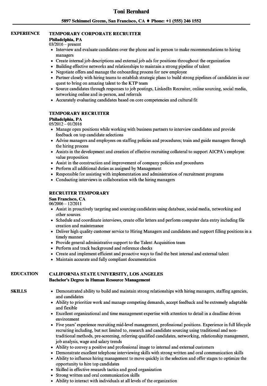 temporary recruiter resume samples