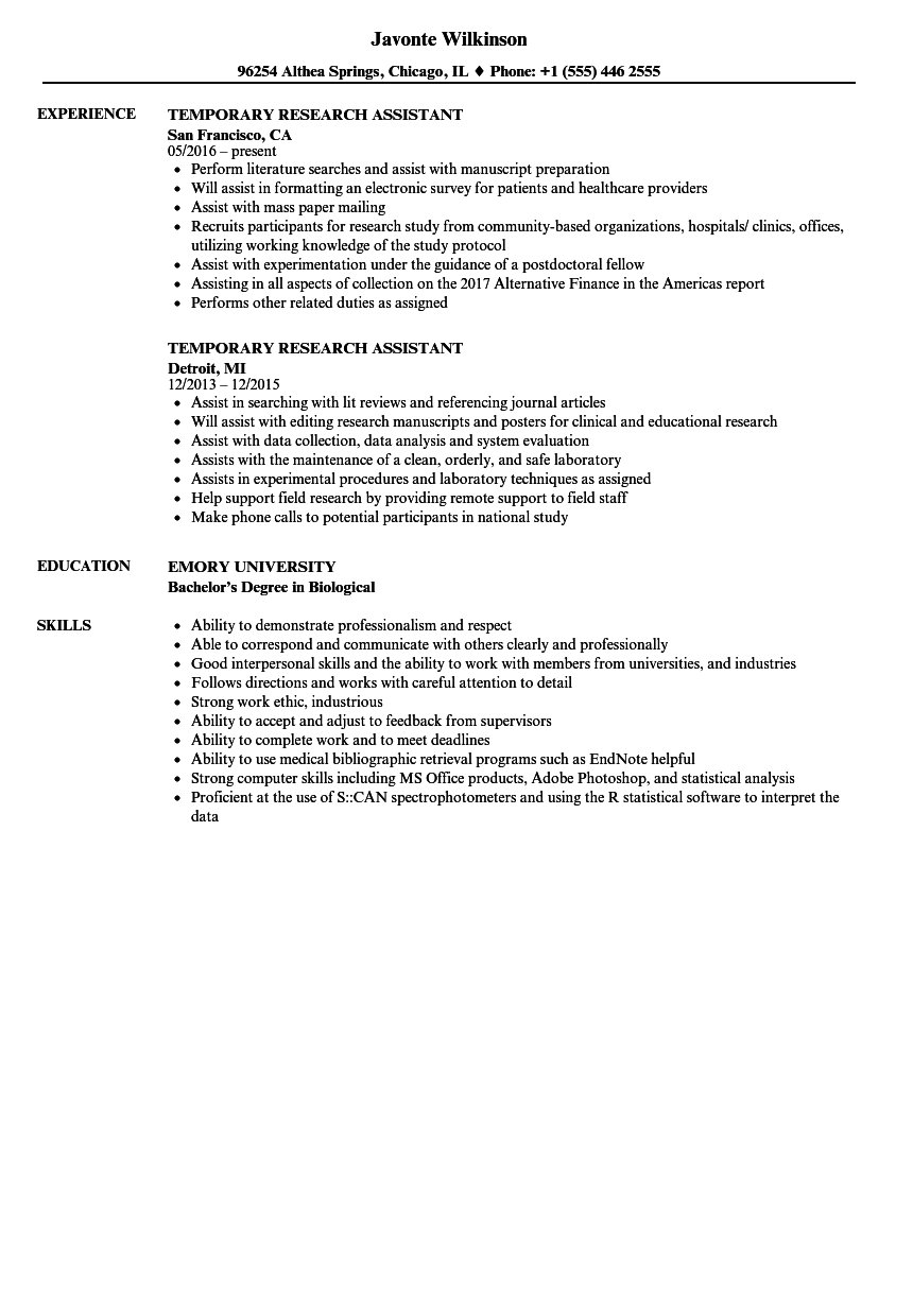 Temporary Research Assistant Resume Samples Velvet Jobs