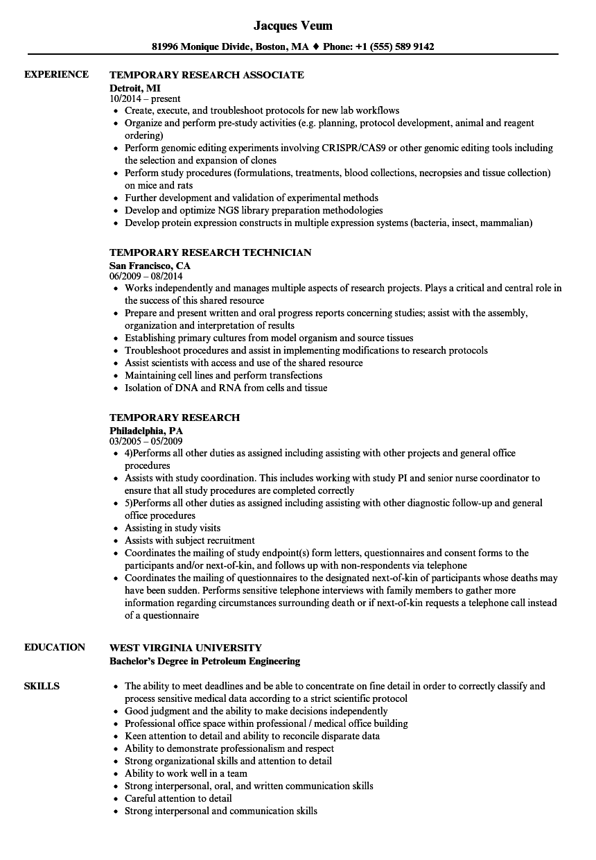 temporary   research resume samples