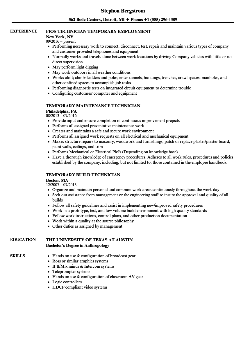 temporary technician resume samples