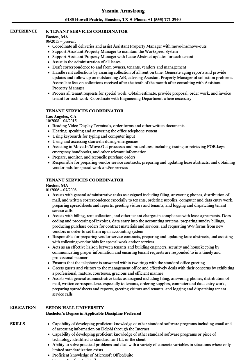 tenant services coordinator resume samples