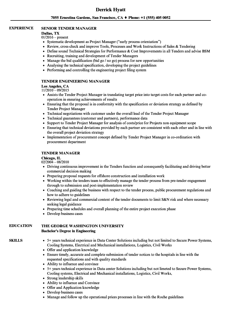 Tender Resume Samples Velvet Jobs