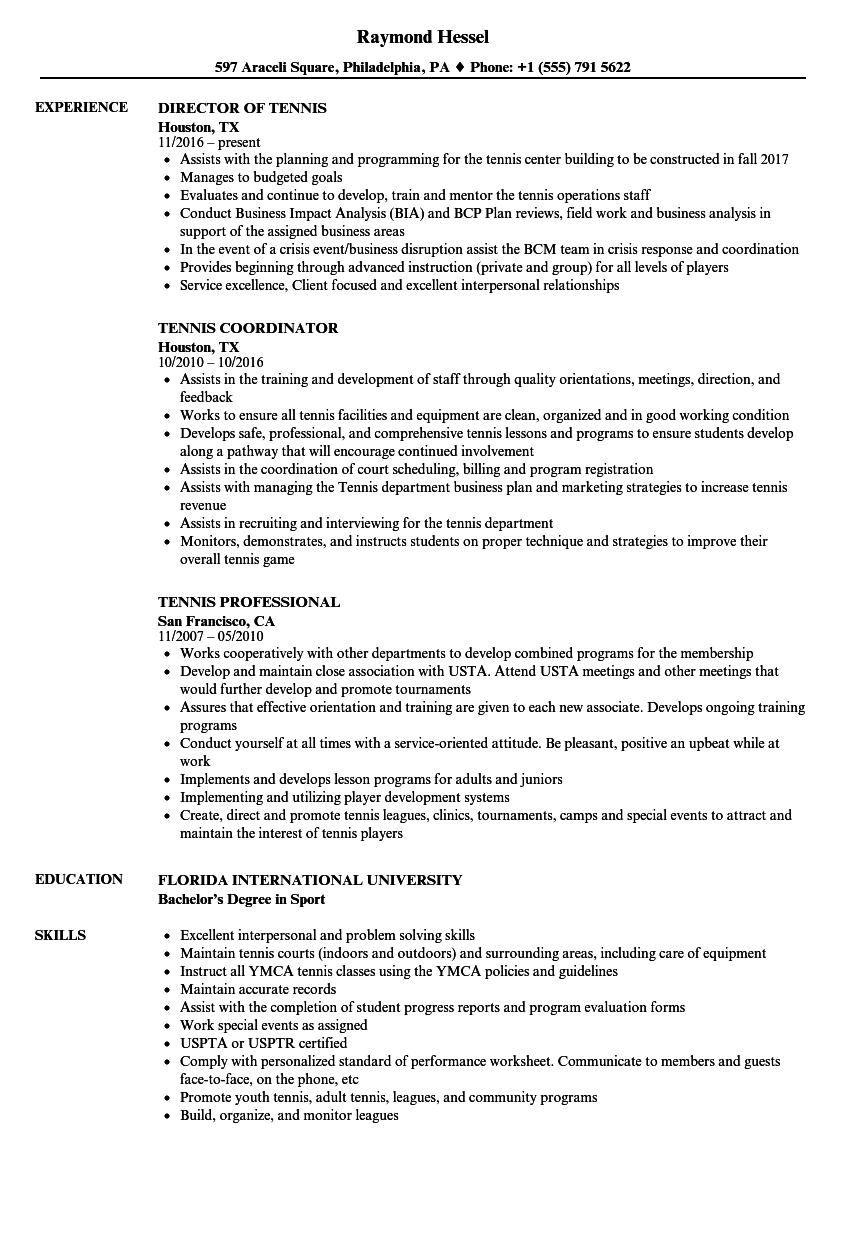 Tennis Resume Samples | Velvet Jobs