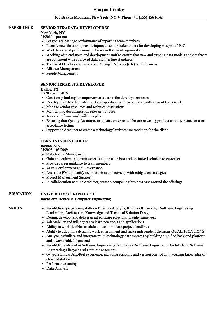 Teradata Sample Resume