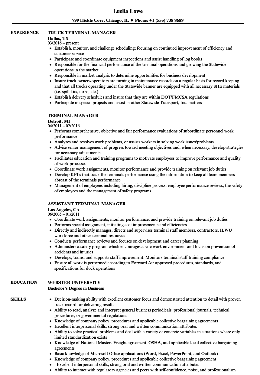 Terminal Manager Resume Samples | Velvet Jobs